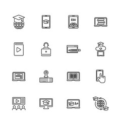 Online education - flat line icons vector