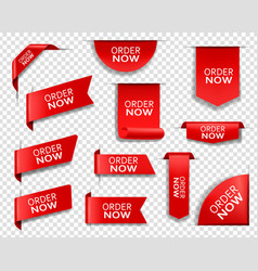 Order now red banners bookmarks web elements vector