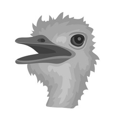 Ostrich icon in monochrome style isolated on white vector