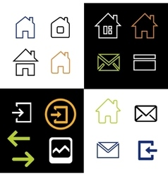 Outline web icons set - house letter vector