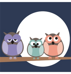 Owl family on tree at night vector image