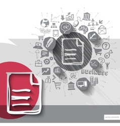 paper and hand drawn document emblem with icons vector image