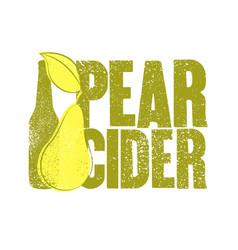 Pear cider typographical vintage grunge poster vector