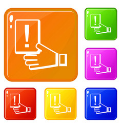 Penalty card icons set color vector