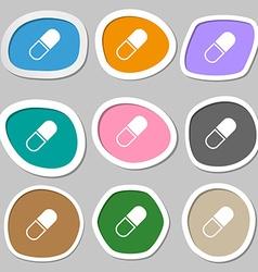 pill symbols Multicolored paper stickers vector image