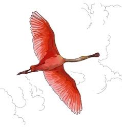 pink Flamingos in flight vector image