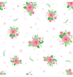 pink green roses ditsy vintage seamless pattern vector image
