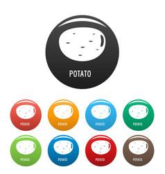 potato icons set color vector image