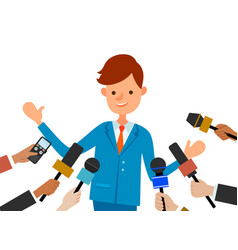 Press conference with smiling boy journalists vector
