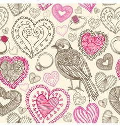 Retro Birds Hearts Doodles Pattern vector image