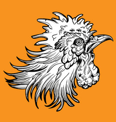 Rooster fight head vector