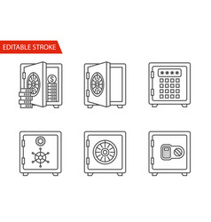 safes icons set thin line vector image