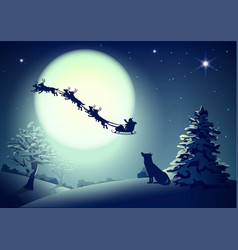 Santa in night sky against background of full moon vector