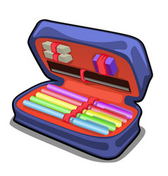 School pencil case with stationery set isolated vector
