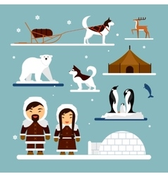 Set of eskimo characters with igloo house vector