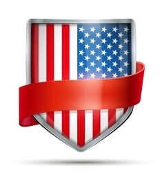 Shield with flag USA and ribbon vector image