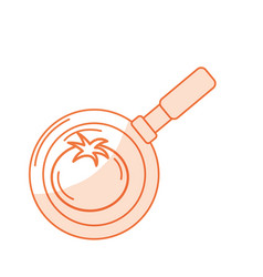 Silhouette tomato vegetable inside skillet pan vector