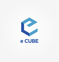 Simple blue e cube logo symbol vector