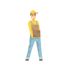 Smiling Worker Holding Two Boxes Delivery Company vector