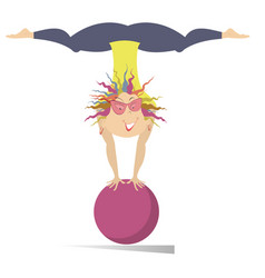 smiling young woman do exercises with the ball iso vector image