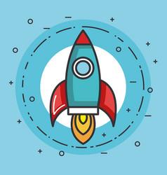 Space rocket launch creative idea vector