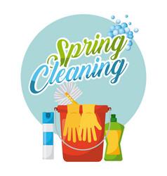 spring cleaning poster bucket air freshner gloves vector image