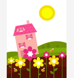 Spring house flowers vector