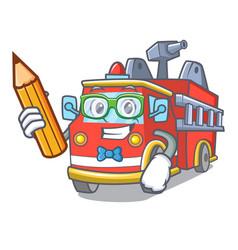 Student fire truck character cartoon vector