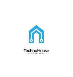 Technology house logo design vector