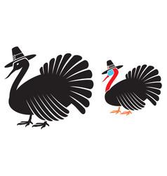 thanksgiving turkey with pilgrim hat vector image