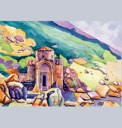 The chapel in the mountains vector