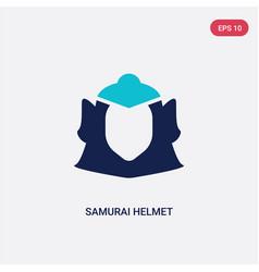 Two color samurai helmet icon from fashion vector