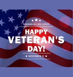 veteran day american military waving usa flag vector image