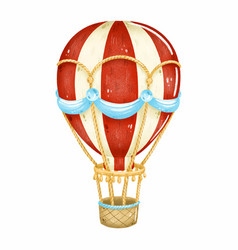 vintage hot air balloon with red stripes vector image