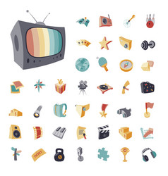 Vintage icons set for entertainment vector