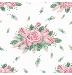 Watercolor pink roses group seamless patternBuds vector image vector image