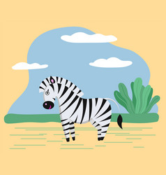 Wild safari animal cute zebra with striped coat vector