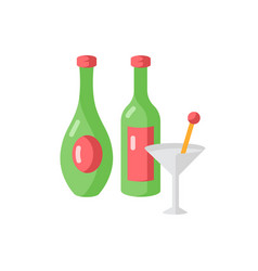 wine and spirits flat color icon vector image