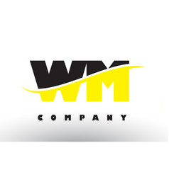 wm w m black and yellow letter logo with swoosh vector image