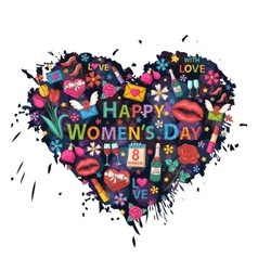 Womens Day on the background of colorful blots vector