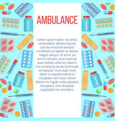 ambulance banner with flat icons vector image