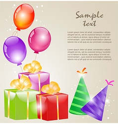 Gift boxes with gold ribbons and balloons vector image