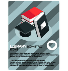 library color isometric poster vector image vector image