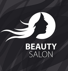 logo girl with flying hair on a black background vector image