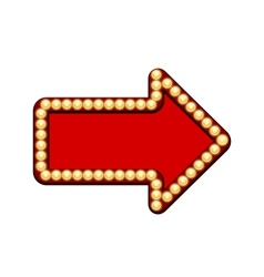 Red arrow with light bulbs vector image