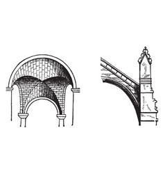 Arch typically vintage engraving vector