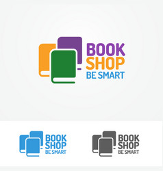 book shop logo set consisting of books vector image vector image