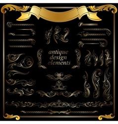 gold calligraphic design elements decoration set vector image vector image