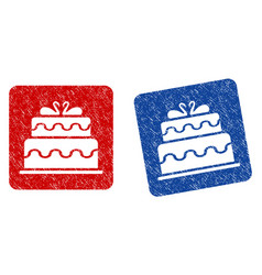 marriage cake grunge textured icon vector image