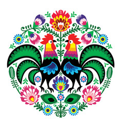 polish folk art floral embroidery with roosters vector image